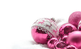 Pink Christmas balls. Winter concept. Merry christmas card. Space for text Stock Photo
