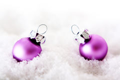 Pink christmas baubels Stock Photo