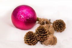 Pink christmas bauble Stock Image