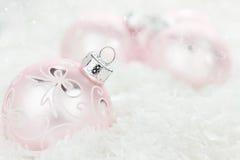 Pink Christmas Baubles stock photos