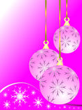 Pink Christmas Baubles. An abstract Christmas vector illustration with a pink baubles on a darker backdrop with white snowflakes and room for text. The stock illustration