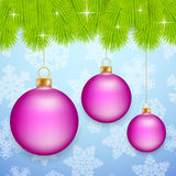 Pink Christmas baubles Stock Images