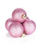 Pink christmas baubles Stock Photo
