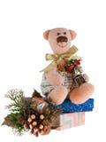 Pink Christmas bear Royalty Free Stock Image