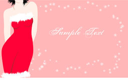Pink Christmas card with sexy female Santa Royalty Free Stock Image