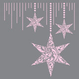 Pink christmas card with the stars. Stock Photography