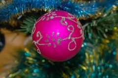 Pink Christmas decoration. Fiber bal.l Decoration for the holiday stock photos
