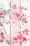 Pink christmas decorations royalty free stock images