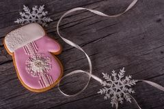 Christmas gingerbread in the form of mitten Stock Photo