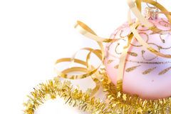 Pink christmas glass ball Royalty Free Stock Image