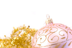 Pink christmas glass ball Stock Images