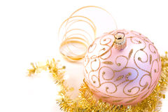 Pink christmas glass ball Royalty Free Stock Photo