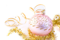 Pink christmas glass ball Stock Photos