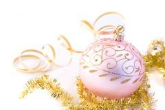 Pink christmas glass ball Stock Photos