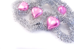 Pink christmas glass hearts Stock Images