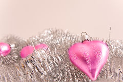 Pink christmas glass hearts Royalty Free Stock Image