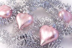 Pink christmas glass hearts Royalty Free Stock Images