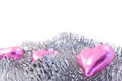 Pink christmas glass hearts Royalty Free Stock Photos