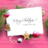 Pink Christmas greeting card with copyspace Royalty Free Stock Photos