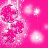 Pink Christmas greeting card. Christmas illustration with colorful pink balls and snowflakes. Christmas Greeting Card. Bright winter background with beautiful Royalty Free Stock Photography