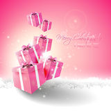Pink Christmas greeting card Royalty Free Stock Photos