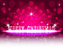 Pink Christmas. Greeting Christmas card 2016. Neon text with reflection Royalty Free Stock Photos