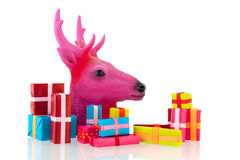 Pink Christmas with many presents Royalty Free Stock Image