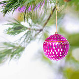 Pink Christmas ornament on snowy tree. Pink mirrored Christmas ornament and pink garland hang from the boughs of a pine tree with snow and copy space for a stock photography