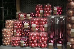 Pink Christmas Ornaments Stock Photography