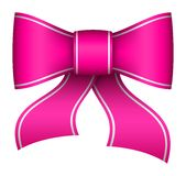 Pink christmas ribbon bow. With light shadow Royalty Free Stock Images