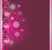 Pink Christmas toys with snowflakes. Banner royalty free illustration