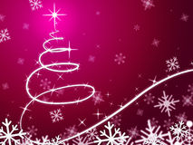 Pink Christmas Tree Background Means Snowing And Freezing. Pink Christmas Tree Background Meaning Snowing And Freezing Royalty Free Stock Photo