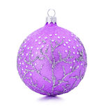 Pink Christmas tree ball isolated on the white background Stock Image