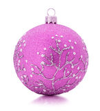 Pink Christmas tree ball isolated on the white background Royalty Free Stock Photo