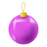Pink Christmas tree ball realistic  illustration. Christmas fir tree ornament  on white. Realistic fir tree ornament clipart. New Year decor. Pink ornament for Stock Image