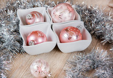 Pink Christmas tree balls decorated Royalty Free Stock Photo