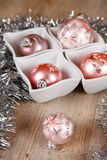 Pink Christmas tree balls decorated Stock Images