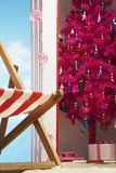 Pink christmas tree in beach storage cabin Royalty Free Stock Photography