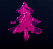 Pink Christmas Tree on black Stock Image