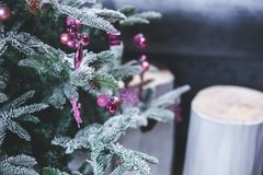 Pink Christmas Tree Decorations Stock Photo