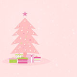 Pink Christmas. Tree and design elements with copy space Vector Illustration