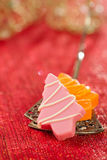 Pink christmas tree homemade sweets  in festive golden red style Royalty Free Stock Image
