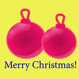 Pink Christmas-tree toy on a yellow background. Happy Merry Christmas. glossy balls Royalty Free Stock Photography