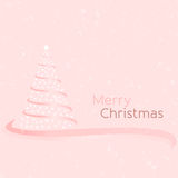 Pink Christmas V2. Pink Christmas tree illustration with holiday greeting Vector Illustration