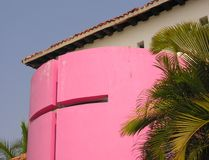 Pink Church. A pink church on the beach in Huatulco / Mexico Royalty Free Stock Photos