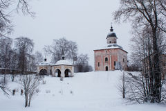 Pink church on the hill covered with snow in Kirillo-Belozersky Monastery in Russia Stock Images