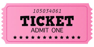 Pink cinema retro admit one ticket. Pink ticket, isolated on white. Vector Illustration Stock Image