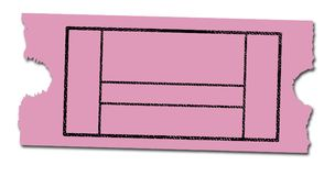 Blank Pink Cinema Ticket. A pink cinema ticket with no information on a white background Stock Image