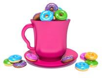 Pink circle and donuts Royalty Free Stock Photos