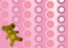 Pink Circles with Teddy Bear. Background of pink circle pattern with small teddy bear in the bottom corner vector illustration